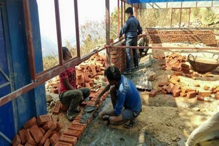 School Building Work on Progress in Thansing Ward No 5, Nuwakot
